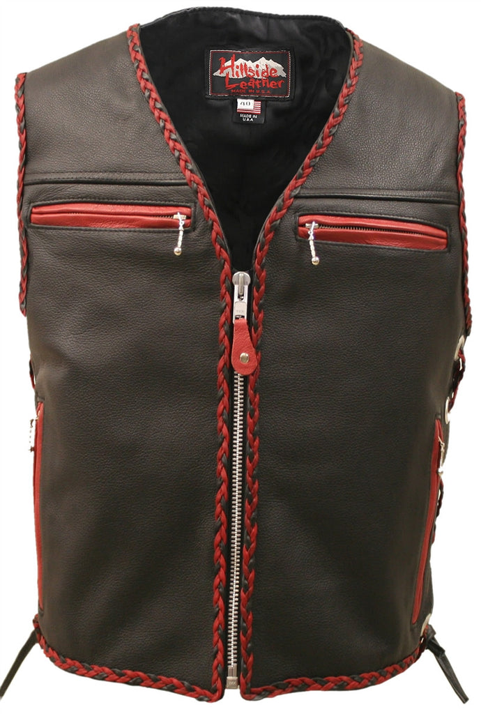 Mens Made in USA The Elite Motorcycle Leather Vest Red/Black Braiding