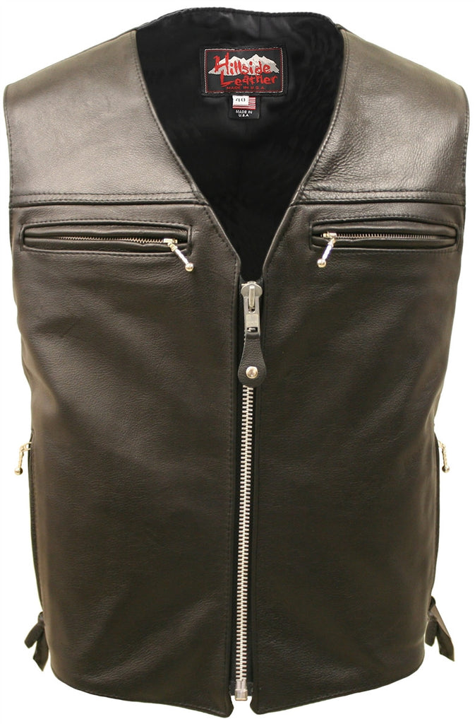 Mens Made in USA The Elite Motorcycle Leather Vest Side Laces