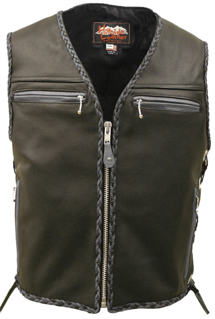 Mens Made in USA The Elite Motorcycle Leather Vest Gray/Black Braiding