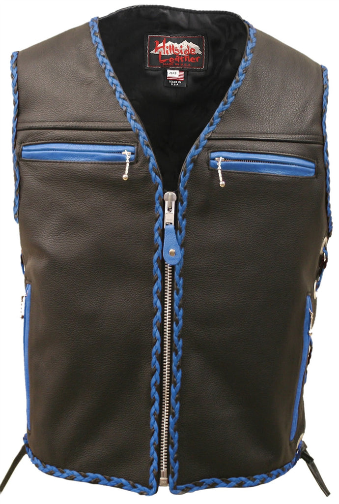 Mens Made in USA The Elite Motorcycle Leather Vest Royal Blue/Black Braiding