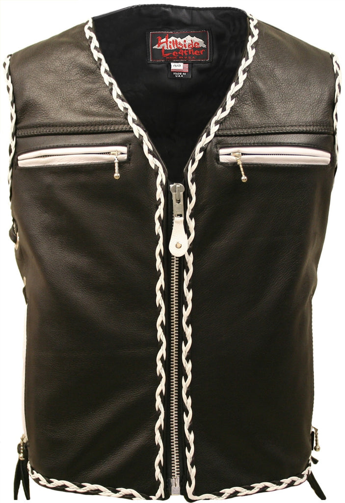Mens Made in USA The Elite Motorcycle Leather Vest White and Black Braiding