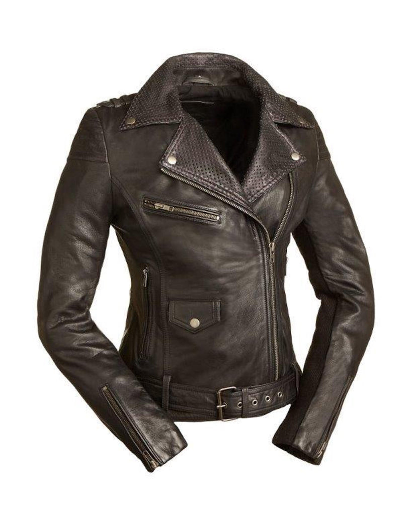 The Iris Lightweight Ladies Cruiser Motorcycle Jacket Snap Down Collar