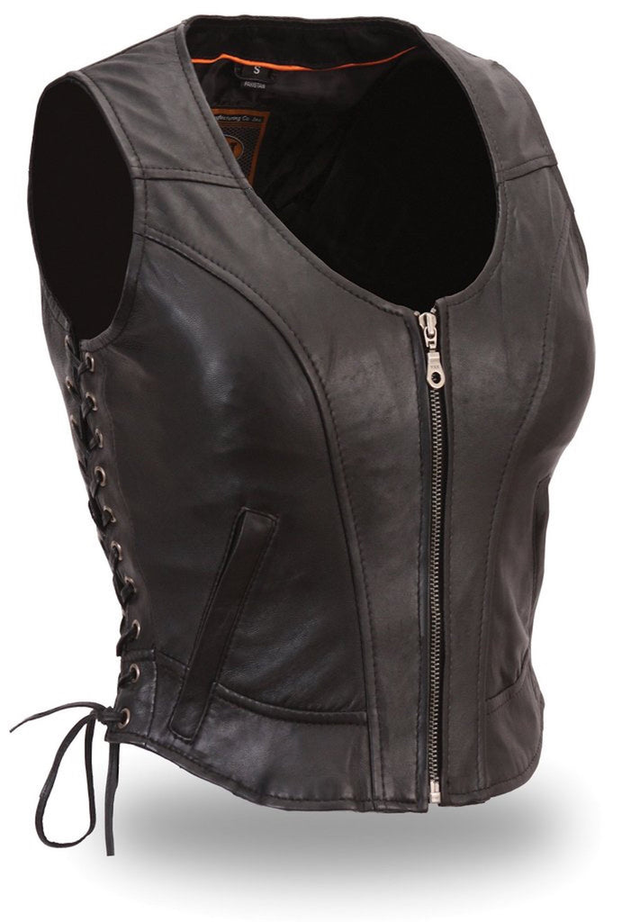 The Raven Women's Black Leather Short Length Motorcycle Vest with Zippered Front