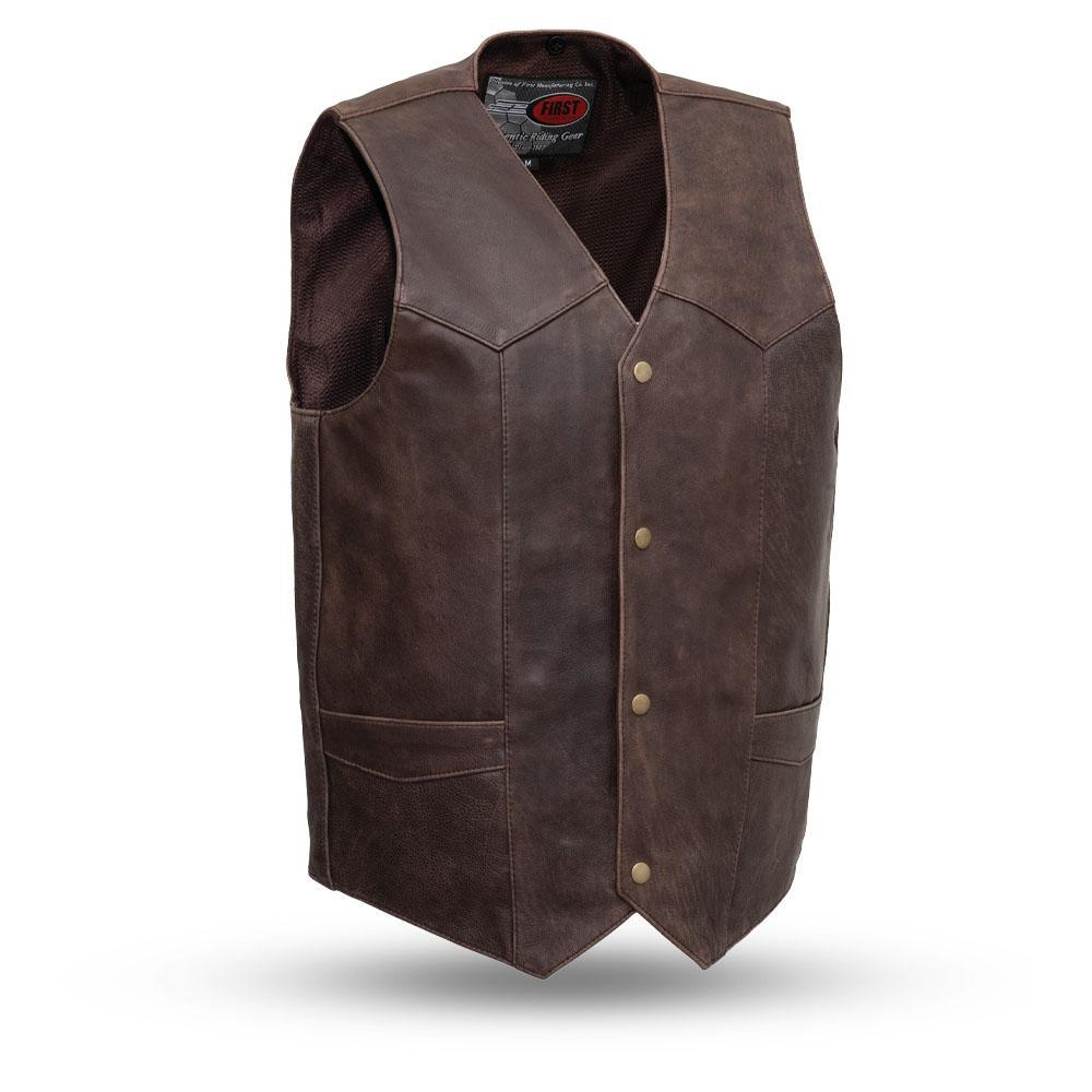 The Texan Mens Brown Naked Leather Motorcycle Vest Gun Pockets Solid Back Easy Access Panels For Patches
