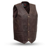 The Texan Mens Black Naked Leather Motorcycle Vest Gun Pockets Solid Back Easy Access Panels For Patches