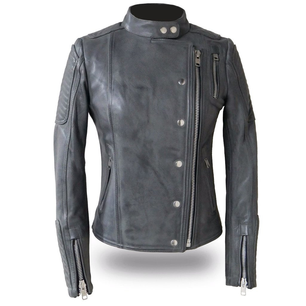 The Warrior Princess Ladies Gray Asymmetrical Zip Scooter Style Motorcycle Jacket