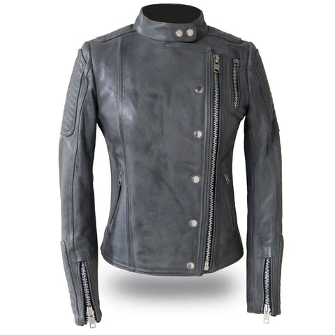 Warrior Princess Ladies Gray Asymmetrical Zip Scooter Style Motorcycle Jacket