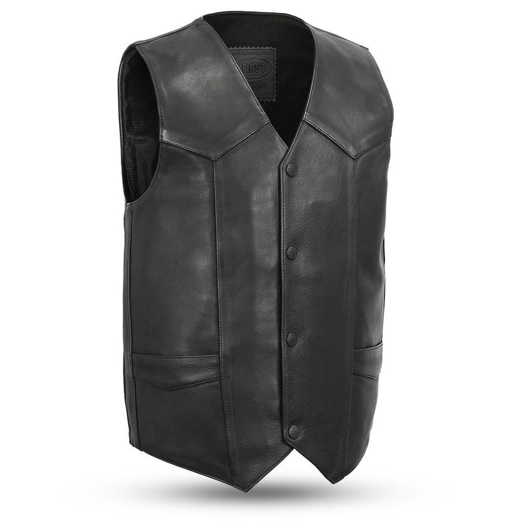 Tombstone 1.4mm Leather 4 Snap Motorcycle Vest With Gun Pockets Solid Back Western Bottom