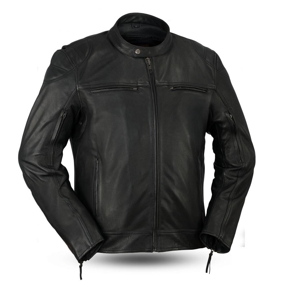 Top Performer Mens Black Naked Leather Vented Motorcycle Scooter Jacket