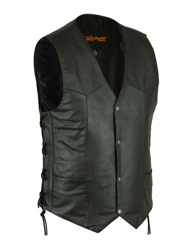 Men's Traditional Single Solid Back Panel Concealed Carry Motorcycle Vest