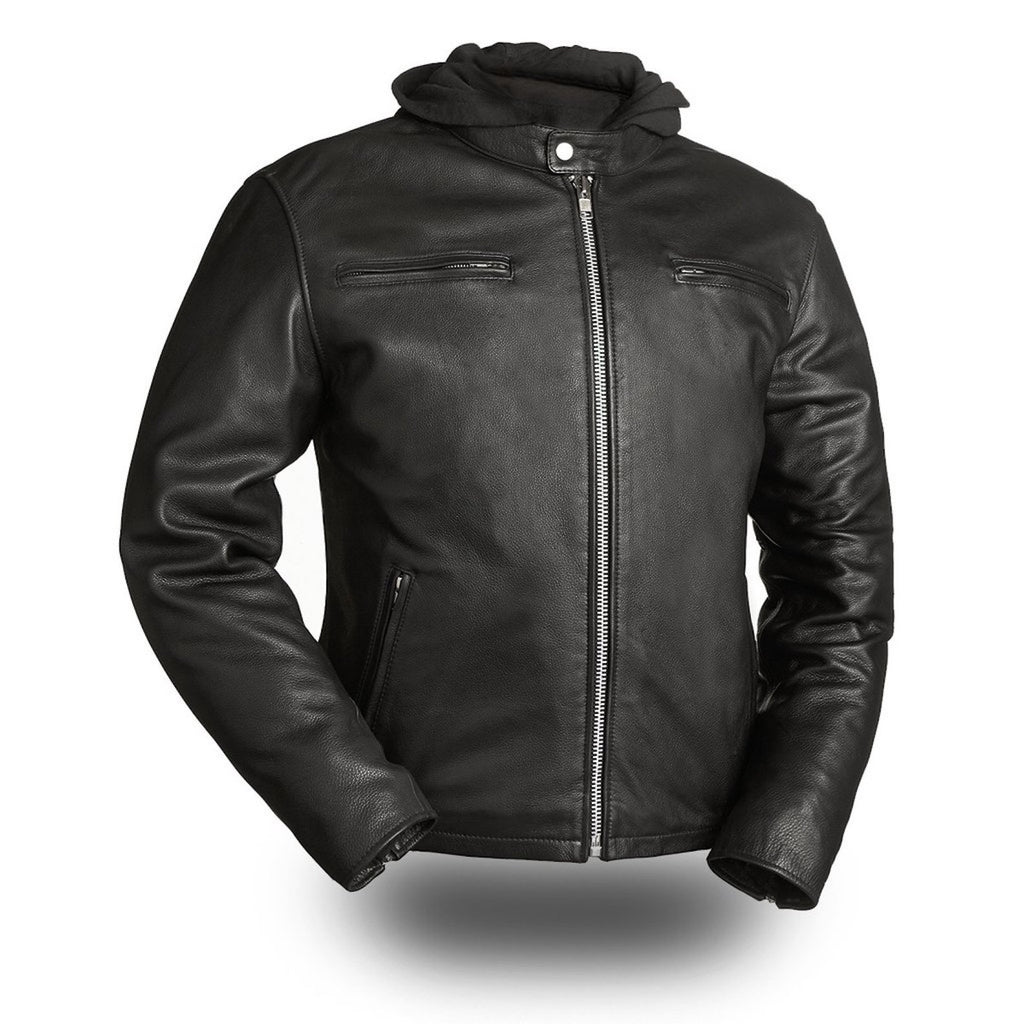 Urban Style Crossover Naked Leather Motorcycle Jacket Removable Hood Gun Pockets