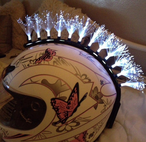 Fiber Optic White Motorcycle Helmet Mohawk