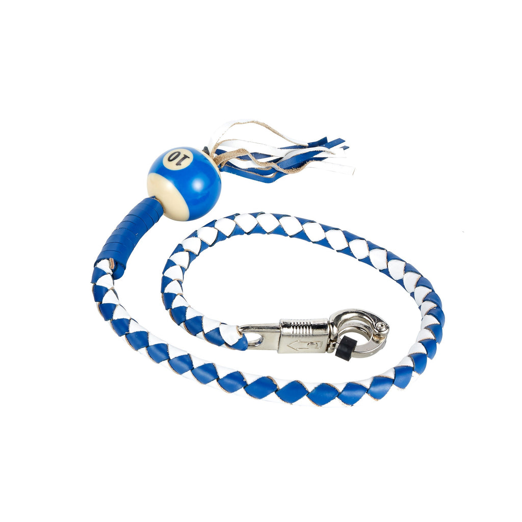 White And Blue Fringed Get Back Whip With Pool Ball