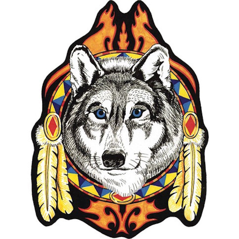 Wolf Head Indian Feathers Large Motorcycle Vest Patch