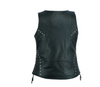 Women's Black V Neck Motorcycle Vest with Lacing