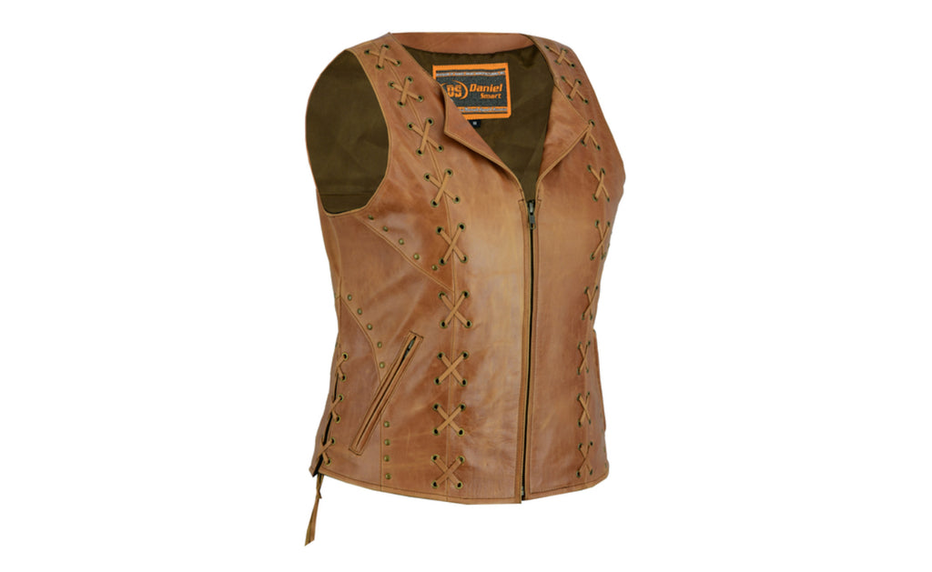 Women's Brown Zippered Motorcycle Vest with Lacing