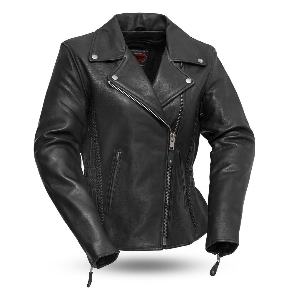 Women's Allure Black Leather Hourglass Fit Motorcycle Jacket With Braid Trim