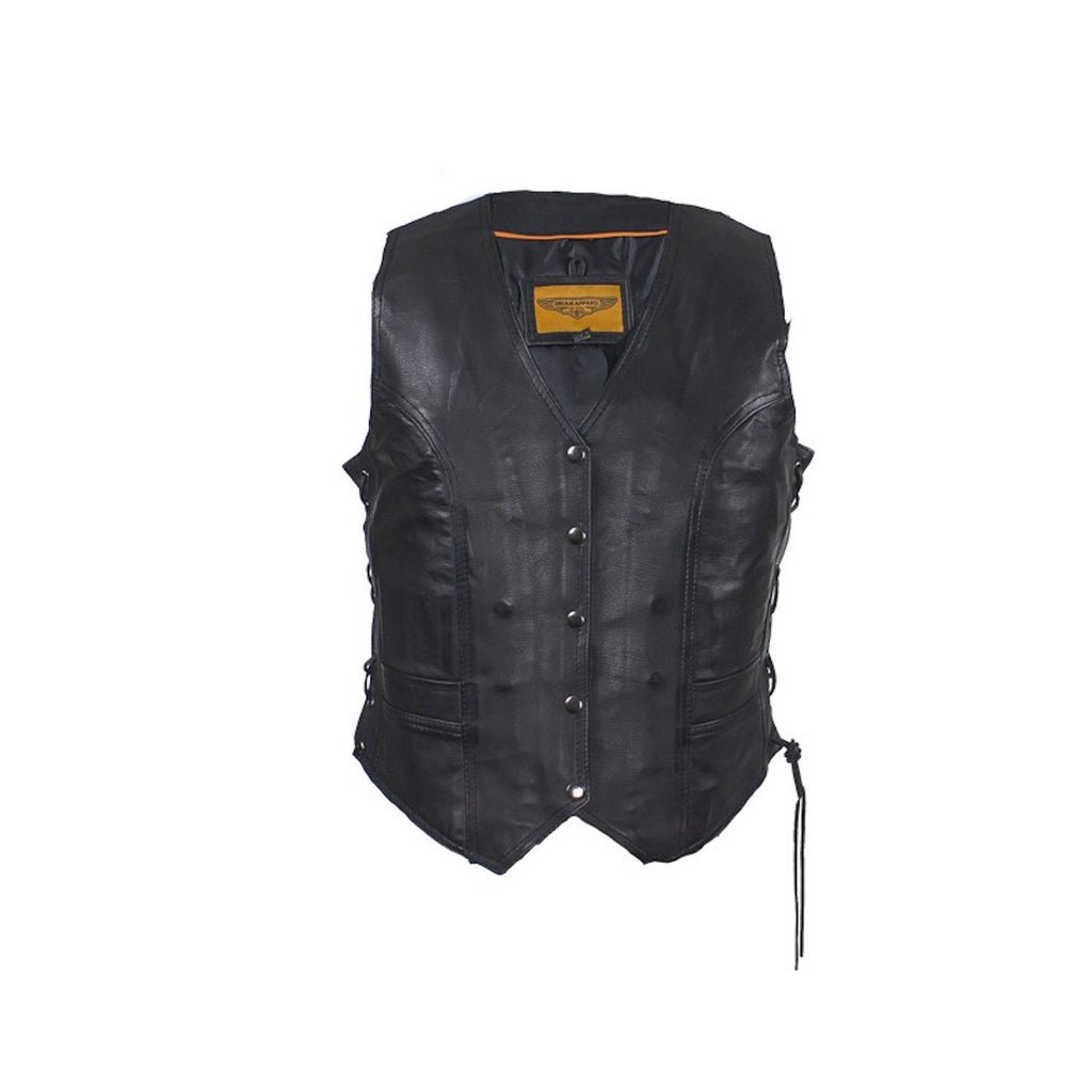 Women's Black Lambskin Leather Motorcycle Vest With Side Laces