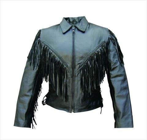 Women's Black Leather Motorcycle Jacket with Fringe Braid and Laces