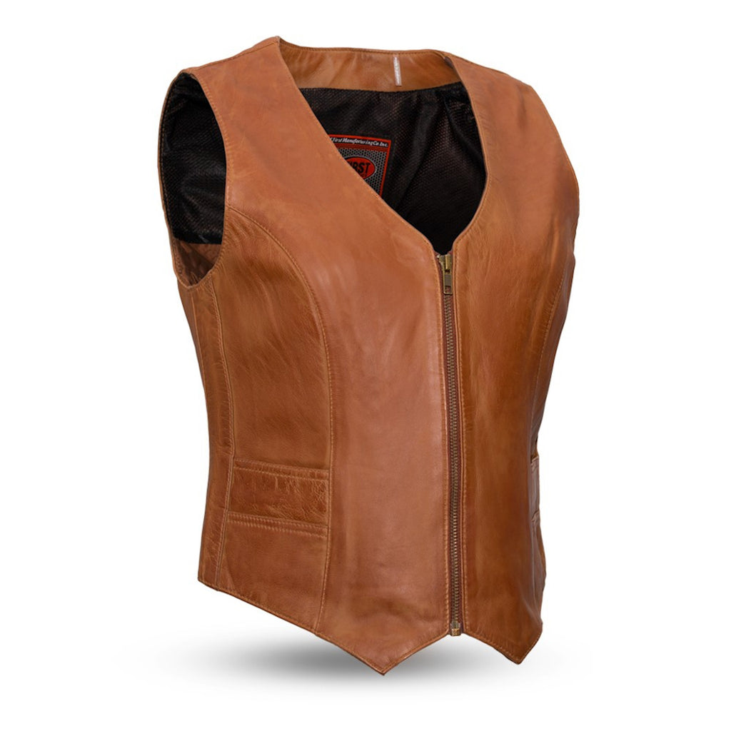 Women's Black Or Tan Lambskin Leather Motorcycle Vest With V-Neck Zippered Front