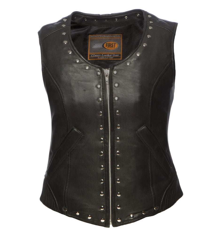 Women's Black Sheepskin Leather Motorcycle Vest With Rivet And Corset Back Detailing
