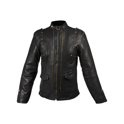 Ladies Black Buttery Soft Leather Jacket with Studs on Front & Back