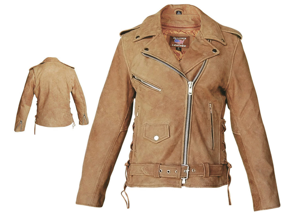 Women's Brown Leather Deluxe Motorcycle Jacket with Side Laces