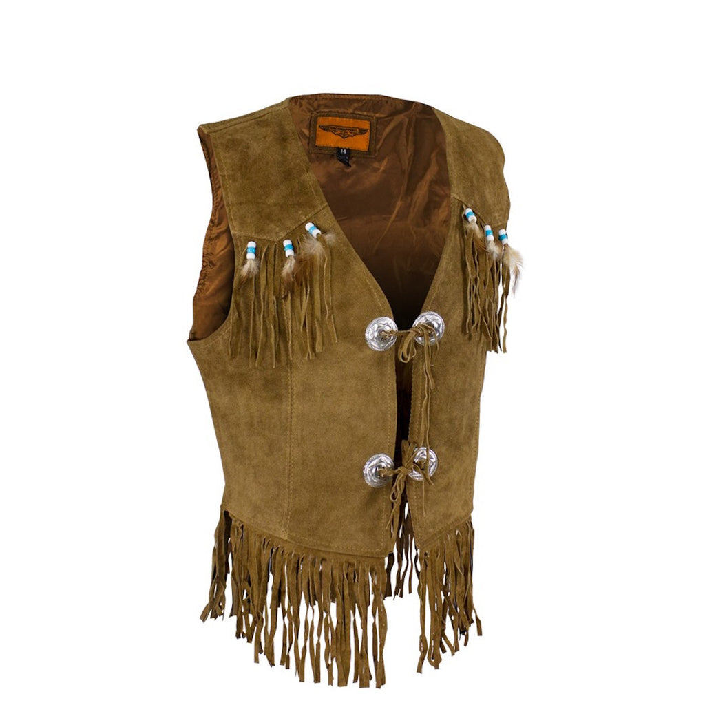 Women's Brown Western Vest with Fringe and Beads