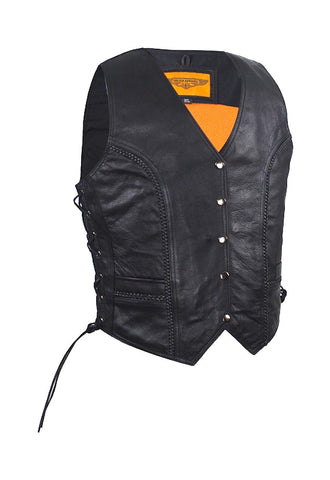 Women's Longer Cut Black Naked Leather Motorcycle Vest With Braid on Front and Back Side Laces