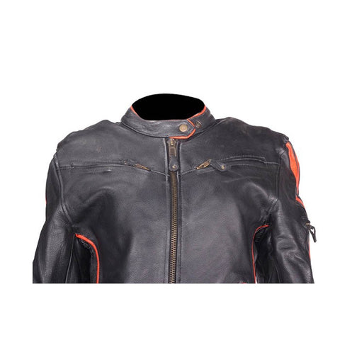 Women's Leather Motorcycle Jacket Orange Stripes Front/Back Vents