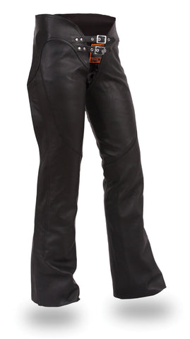 Women's Black Premium Leather Low Rise Hip Hugging Motorcycle Chaps