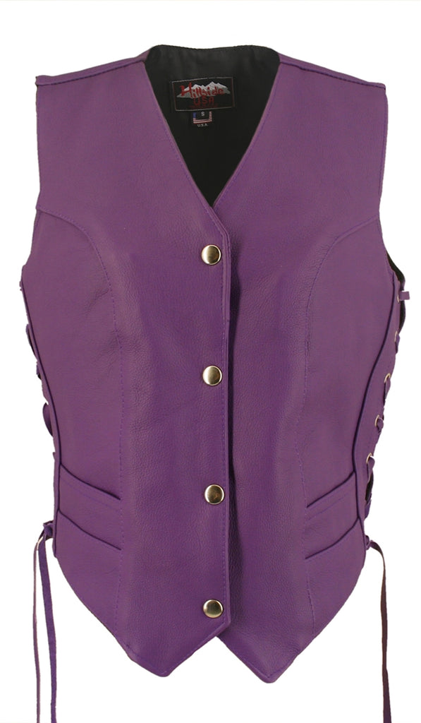Women's Purple Made in USA Leather Motorcycle Vest Side Laces
