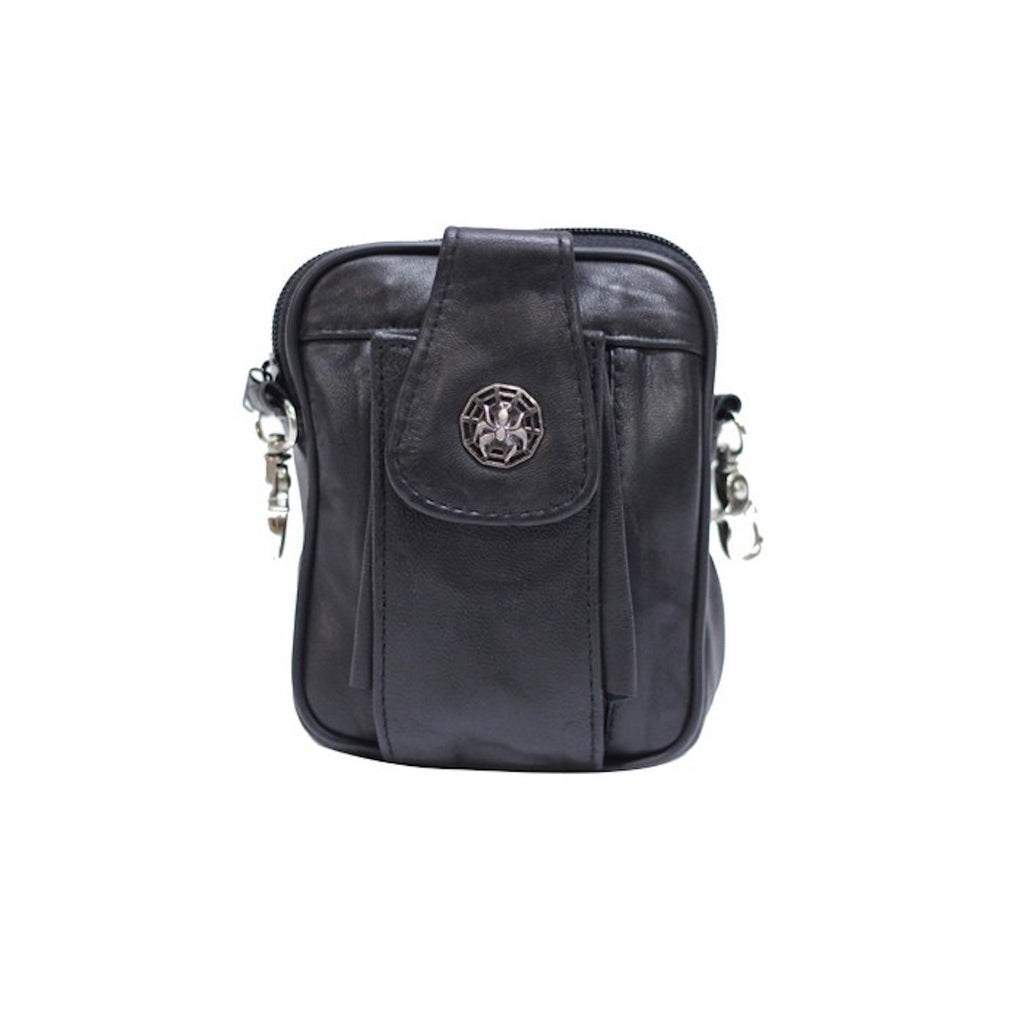 Women's Shoulder Carry Bag with Spider and Web Pin