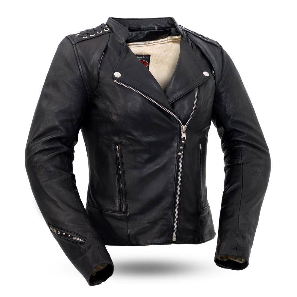 Women's Vented Leather Motorcycle Jacket Asymmeterical With Concealed Carry Pockets
