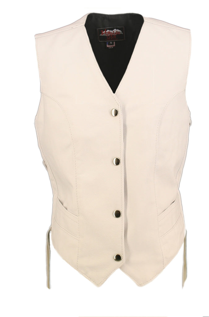 Women's White Made in USA Leather Motorcycle Vest Side Laces