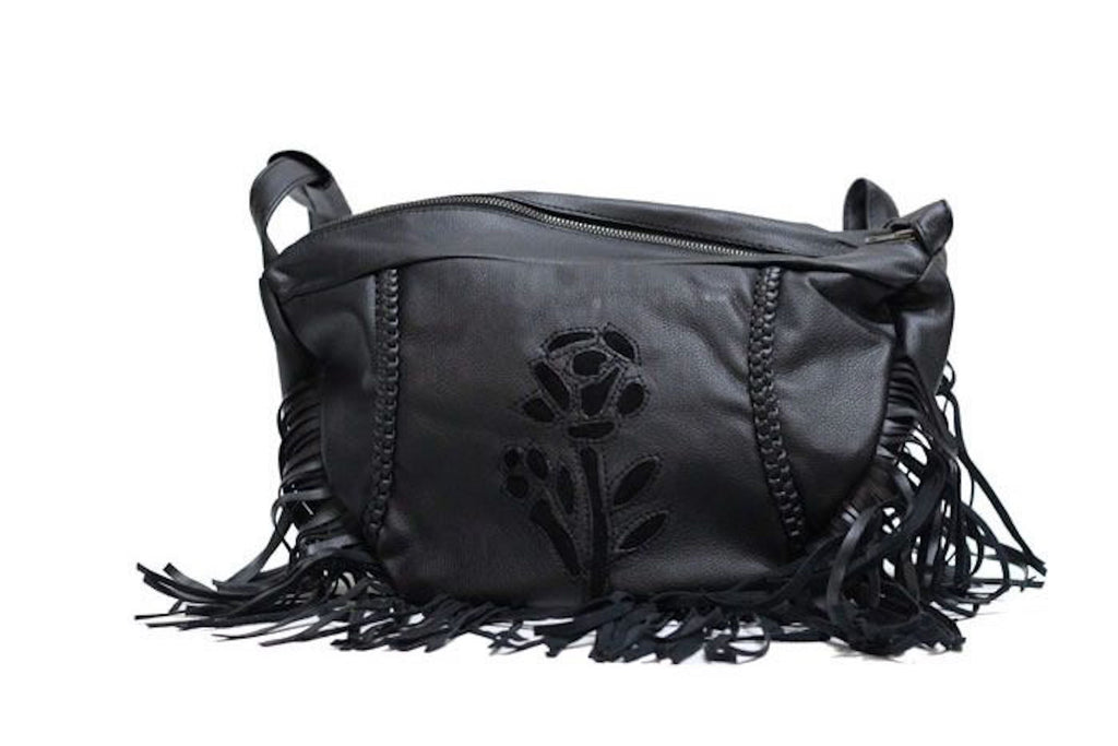 Womens Large Black Inlay Rose Purse