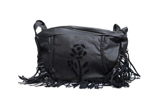 Womens Small Black Inlay Rose Purse