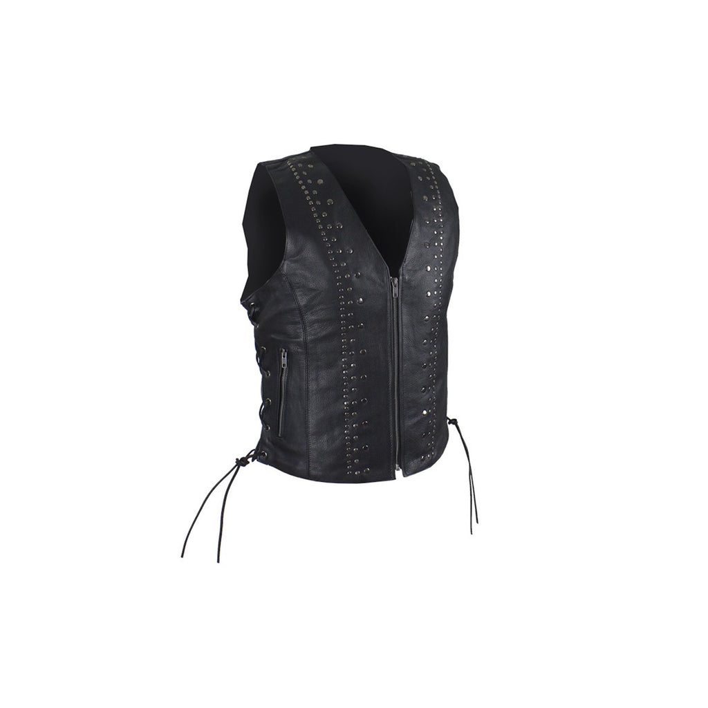 Women's Naked Leather Motorcycle Vest With Satin Nickel Studs and Gun Pockets