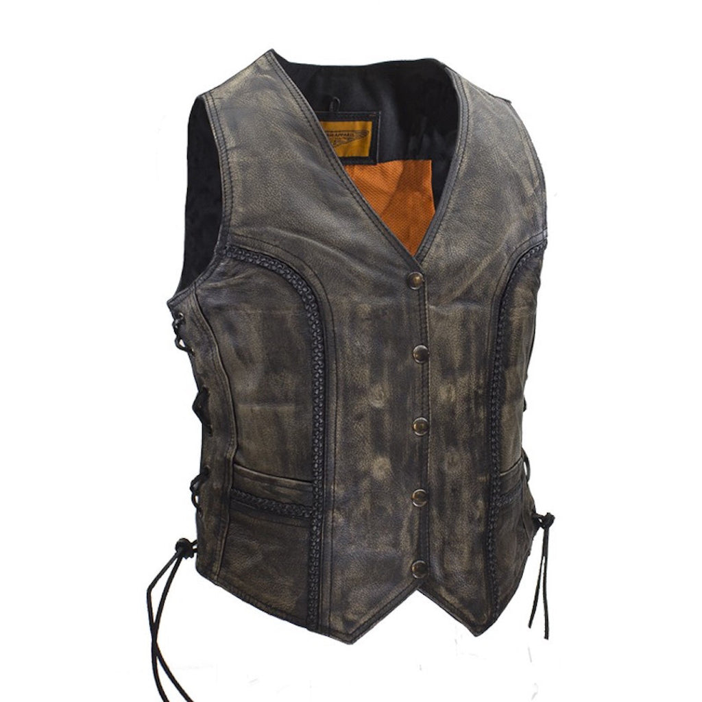 Womens Longer Cut Distressed Brown Cowhide Leather Motorcycle Vest