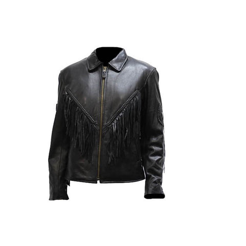 Ladies Naked Cowhide Biker Jacket Zip Out Lining, Side laces, Fringes