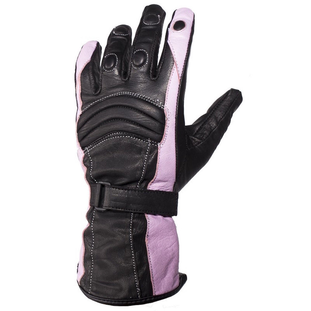 Womens Pink Full Finger Leather Motorcycle Gloves