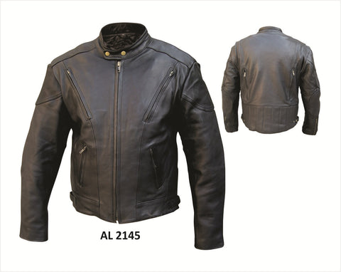Women's Classic Black Naked Leather Motorcycle Jacket Front and Back Vents