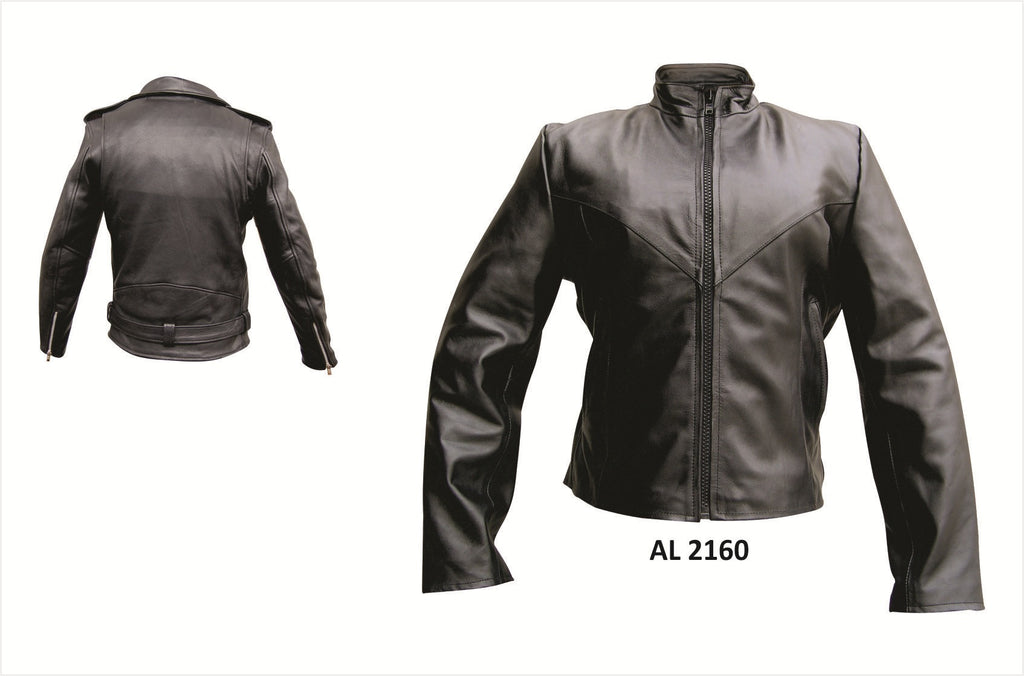 Women's Plain Black Leather Motorcycle Jacket Antique Hardware