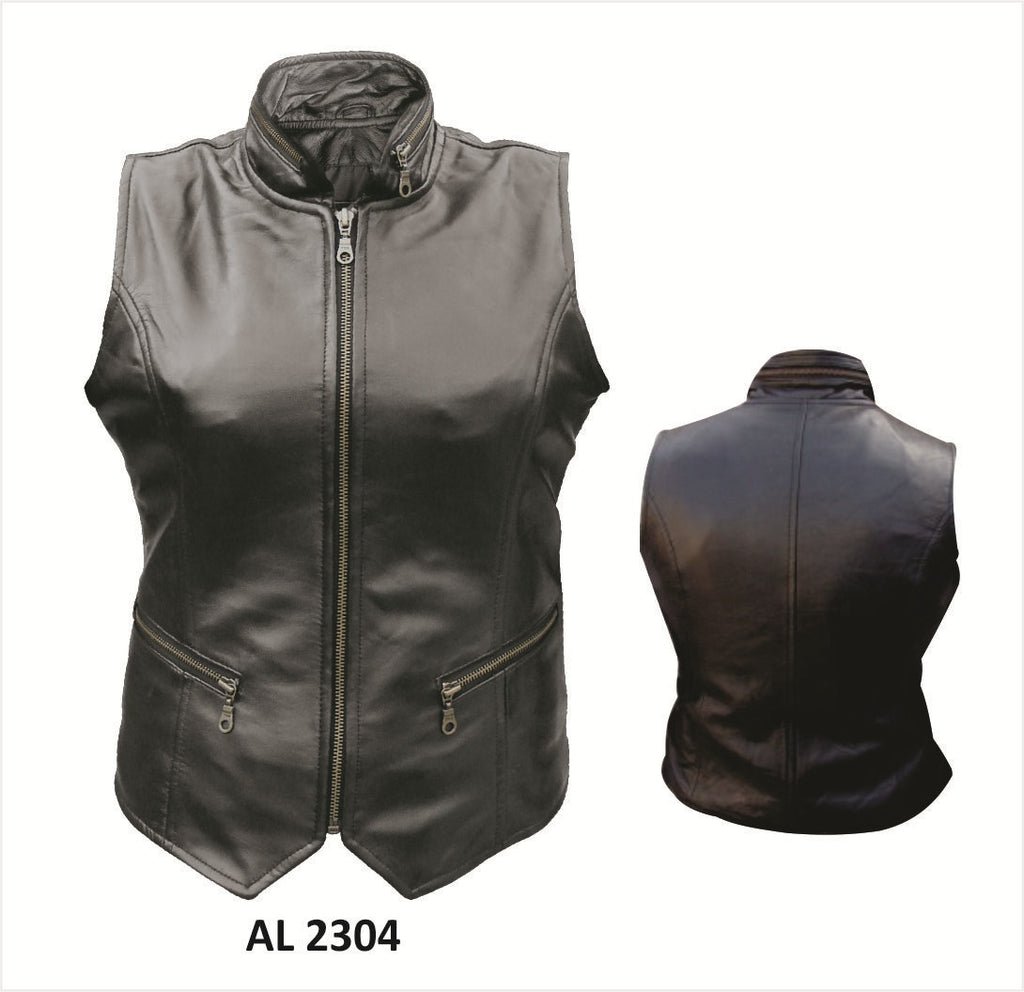 Women's Black Lambskin Leather Zippered Motorcycle Vest with Collar