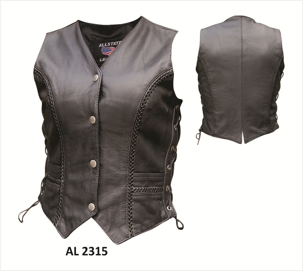 Women's Black Leather Motorcycle Vest Vertical Braided Trim Front and Back