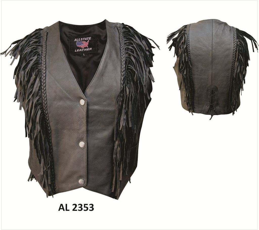 Women's Drum Dyed Naked Leather Motorcycle Vest Fringes Front and Back