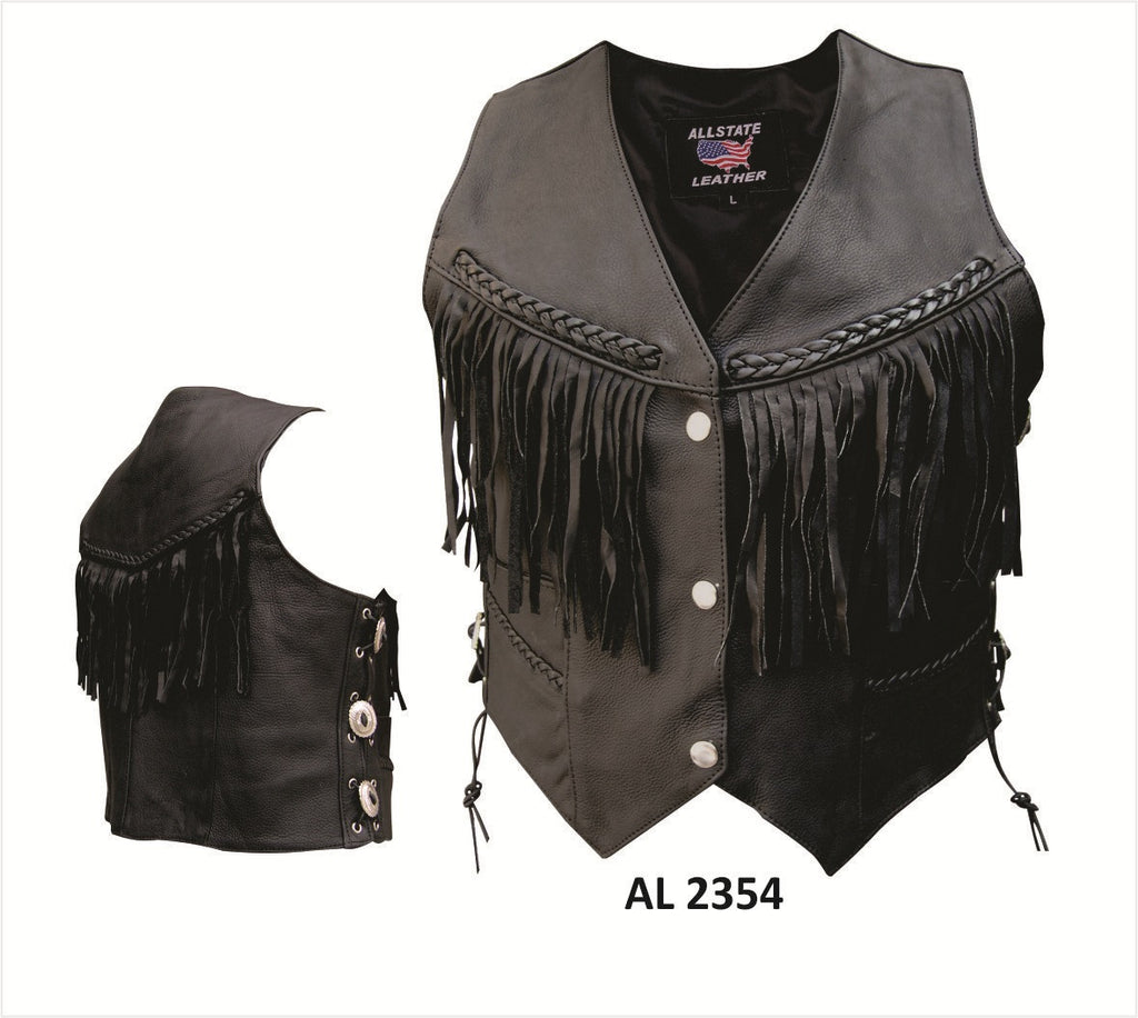 Women's Naked Leather Motorcycle Vest Fringes Braid and Conchos
