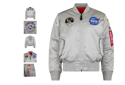 Alpha Industries Silver Apollo MA-1 Flight Jacket