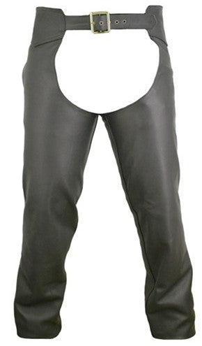 Men's Black Made in USA Naked Leather Seamless Motorcycle Chaps