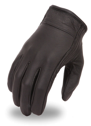Mens Leather Cruising Motorcycle Gloves With Gel Palm